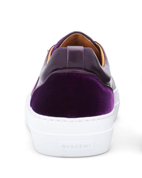 Men's 40 mm Band Quincy Leather & Velvet Slip-On Sneakers