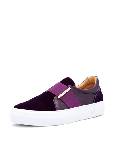 40 mm Band Quincy Leather & Velvet Slip-On Sneaker
