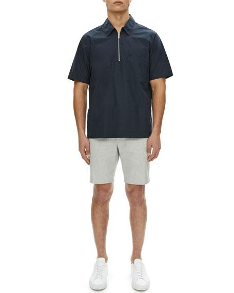 Bergen Mercerized Cotton/Linen Quarter-Zip Polo Shirt