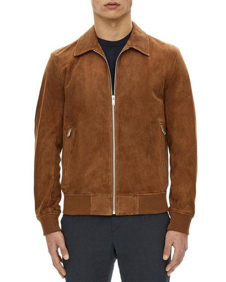 Noland Suede Zip-Front Jacket