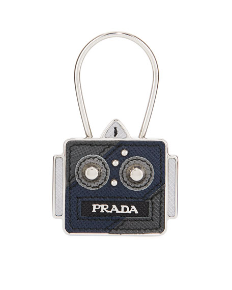 Saffiano Leather Robot Keychain