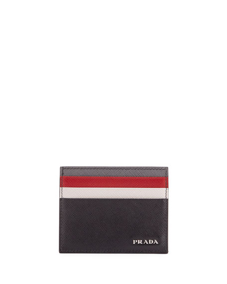 Prada Saffiano Surf Colorblock Leather Card Case