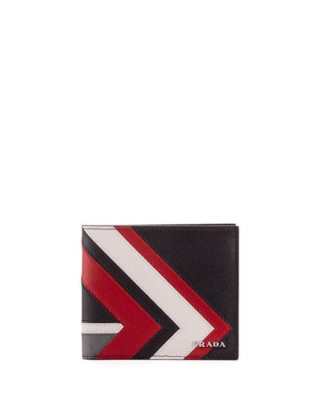 Prada Saffiano Surf Colorblock Leather Bi-Fold Wallet