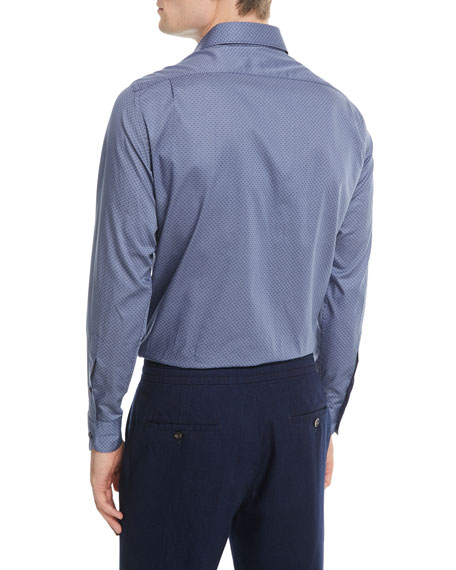 Micro-Print Sport Shirt, Dark Blue