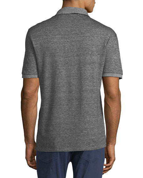Men's Micro-Square Cotton/Linen Polo Shirt