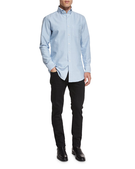Tailored-Fit Washed Oxford Shirt, Light Blue