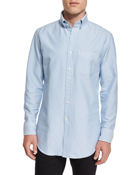 TOM FORD Tailored-Fit Washed Oxford Shirt, Light Blue