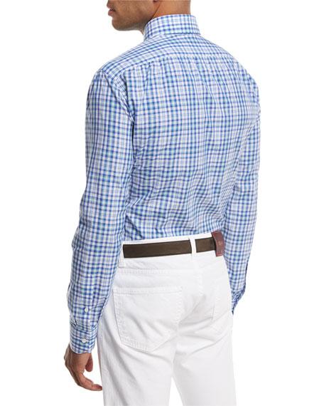 Check Cotton Dress Shirt, Blue/Green