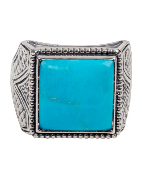 Men's Sterling Silver & Turquoise Signet Ring