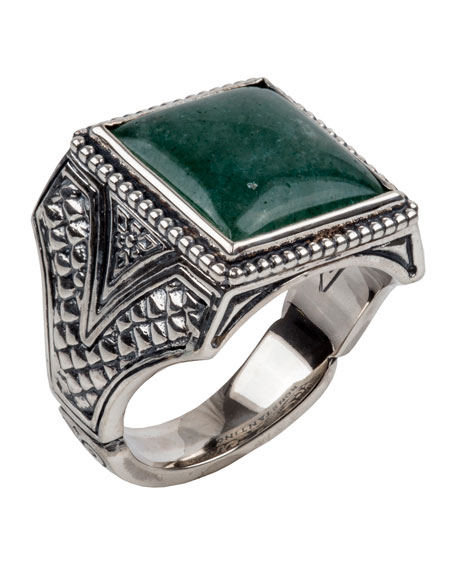 Konstantino Mens Aventurine Sterling Silver Signet Ring with 18k Gold Accents bdwiNW03