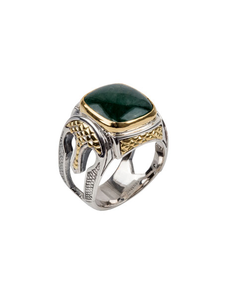 Men's Aventurine Sterling Silver Signet Ring with 18k Gold Accents