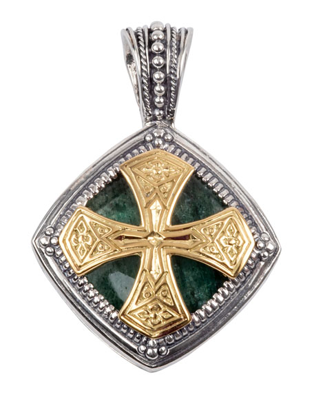 Konstantino Mens Sterling Silver & 18K Gold Pendant with Aventurine
