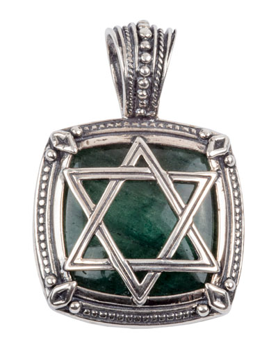 Men's Sterling Silver Star of David Pendant with Aventurine