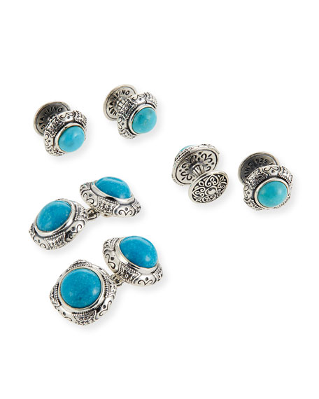 Konstantino Turquoise Cabochon Sterling Silver Cuff Links &