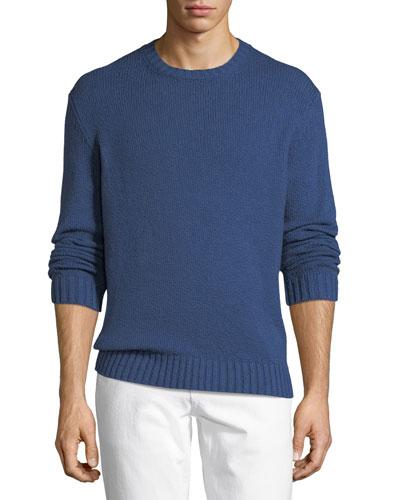 Textured-Knit Crewneck Sweater