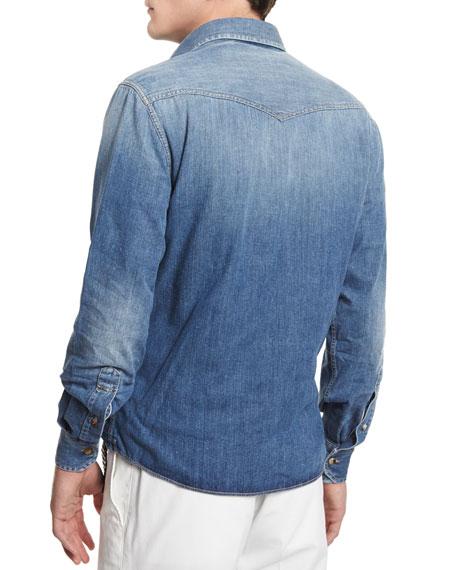 Western-Style Button-Down Denim Shirt