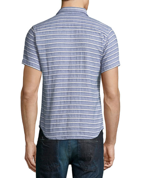 Indigo Striped Short-Sleeve Sport Shirt