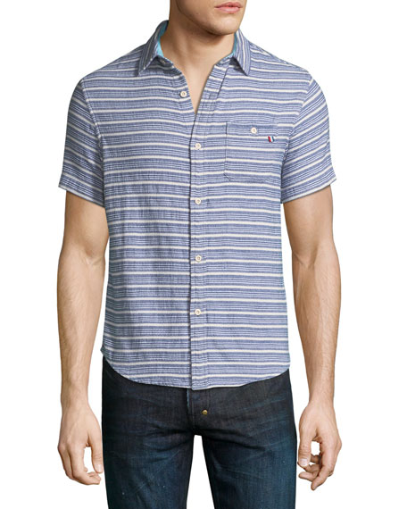 Sol Angeles Indigo Striped Short-Sleeve Sport Shirt