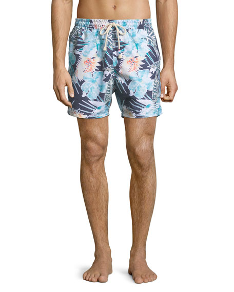 Sol Angeles Botanica Verde Floral-Print Swim Trunks