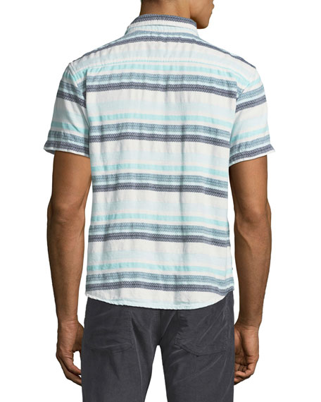 Pool Stripe Short-Sleeve Sport Shirt