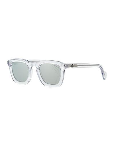 Square Transparent Plastic Universal Fit Sunglasses, White/Gray