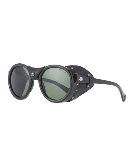 Moncler Black/Green Round Acetate Sunglasses w/ Leather Trim