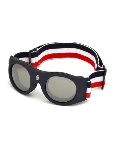 Men's Round Goggle Sunglasses w/ Wide Elastic Band, Blue