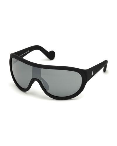 Mirrored Shield Sunglasses, Black/Gray
