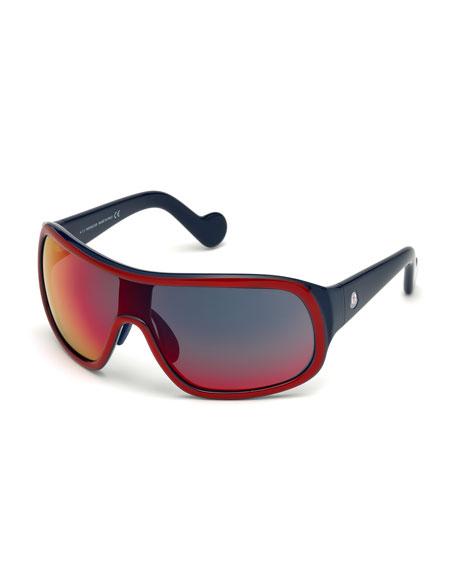 Men's Two-Tone Mirrored Shield Sunglasses, Red/Gray