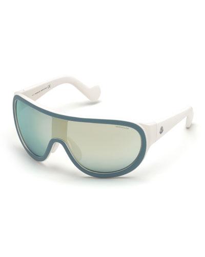 Mirrored Shield Sunglasses, Blue/Gold
