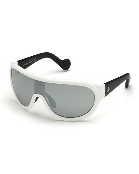 Mirrored Shield Sunglasses, Black/Silver