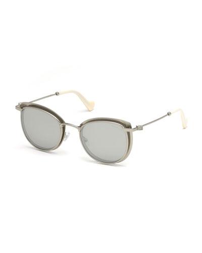 Metal Cat-Eye Mirrored Sunglasses, White/Silver