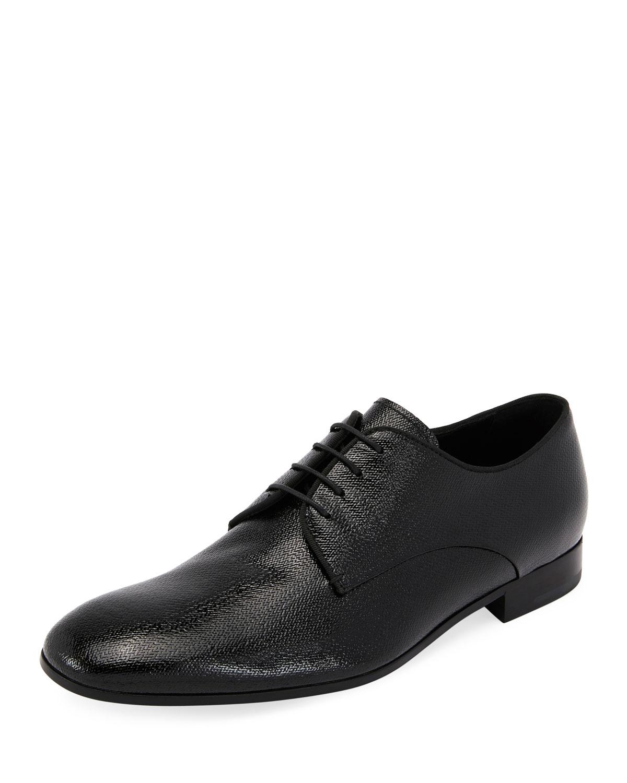 38a0aa2e65ef Giorgio Armani Vernice Olona Textured Leather Oxford Shoe