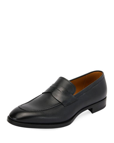 York Textured Leather Penny Loafer with Rubber Sole