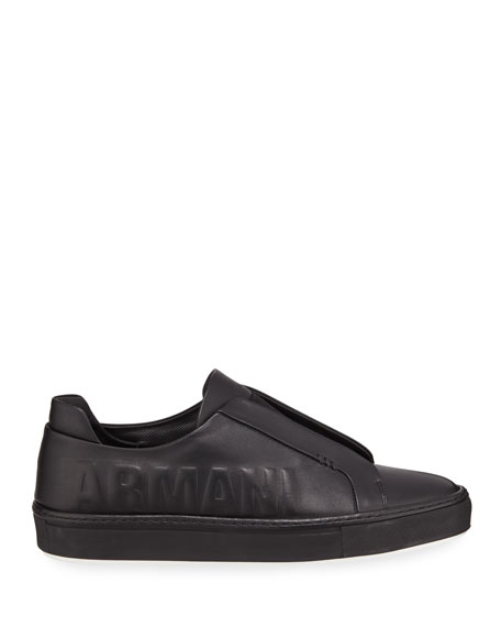 Men's Logo-Embossed Slip-On Low-Top Sneakers, Black