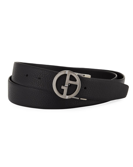 Giorgio Armani Logo-Buckle Vitello Belt, Black