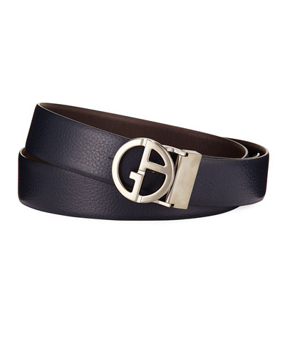 Logo-Buckle Vitello Belt, Blue/Brown