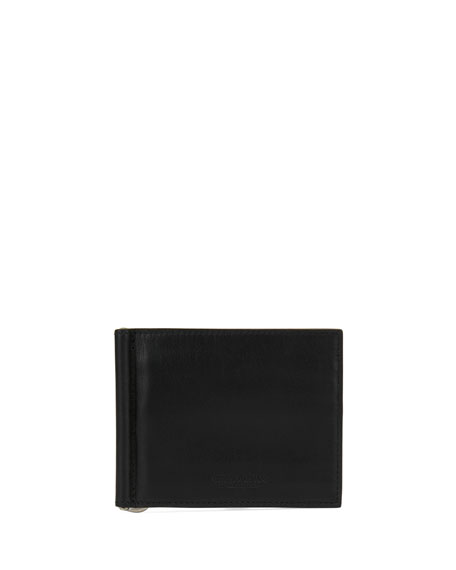 Giorgio Armani Smooth Leather Bi-Fold Wallet with Money