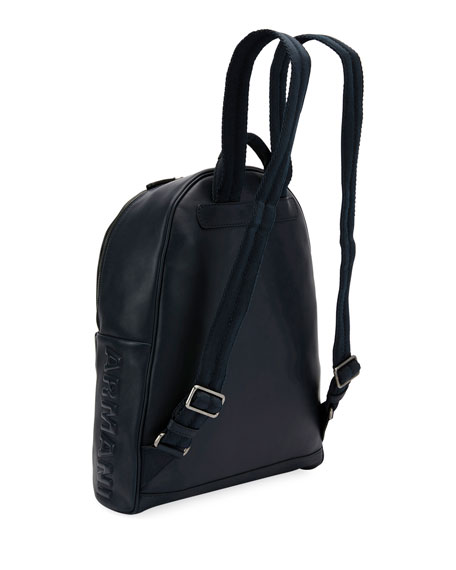 Armani Leather Backpack, Blue