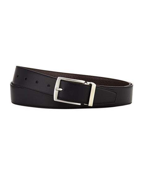 Giorgio Armani Dual-Textured Leather Belt