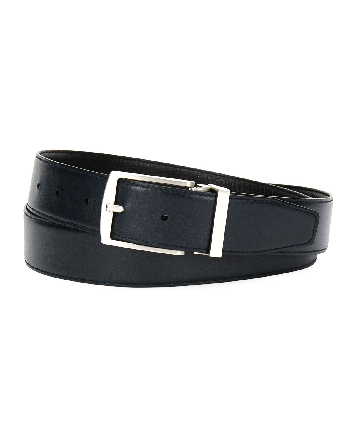 Traditional Dual Textured Leather Belt by Giorgio Armani