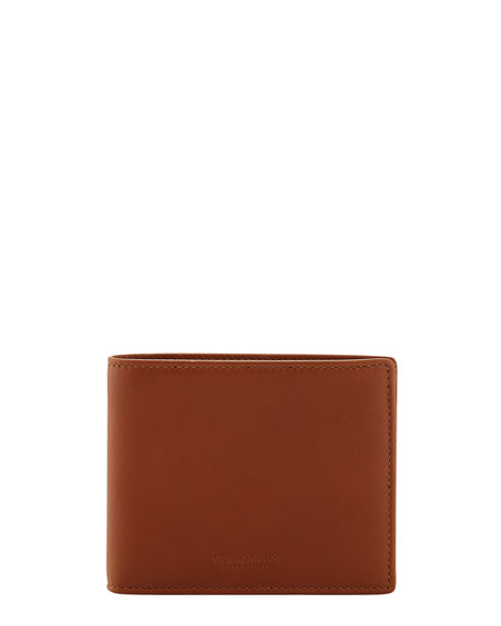 Giorgio Armani Smooth Calfskin Bi-Fold Wallet, Brown