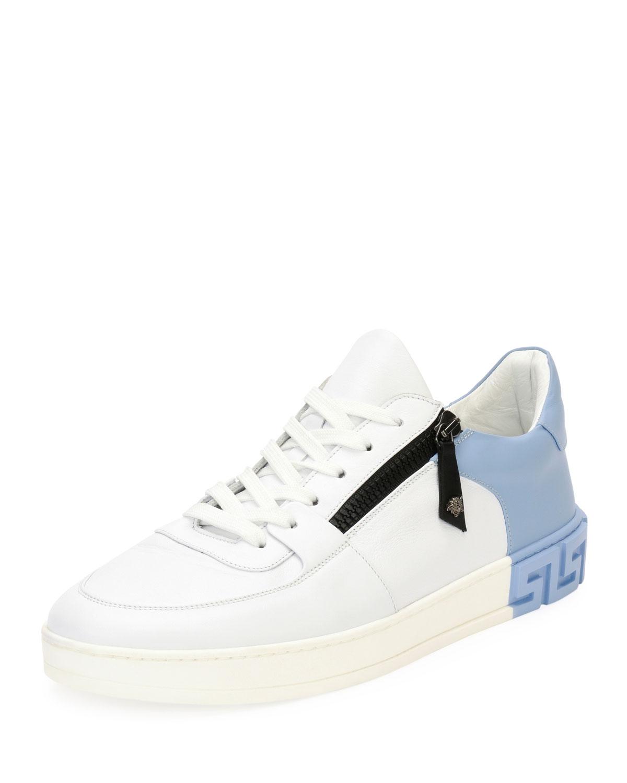 05a76e7d21 Versace Men's Eros Zip Leather Low-Top Sneakers | Neiman Marcus