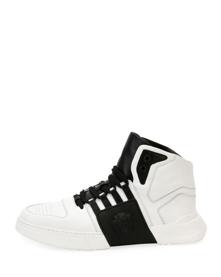 Men's Fashion Show Medusa-Embossed High-Top Sneakers