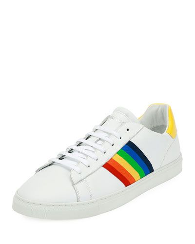 Rainbow-Stripe Low-Top Sneaker