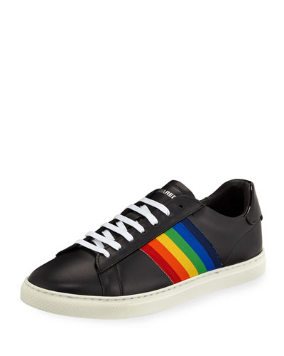 Rainbow-Stripe Low-Top Sneaker, Black