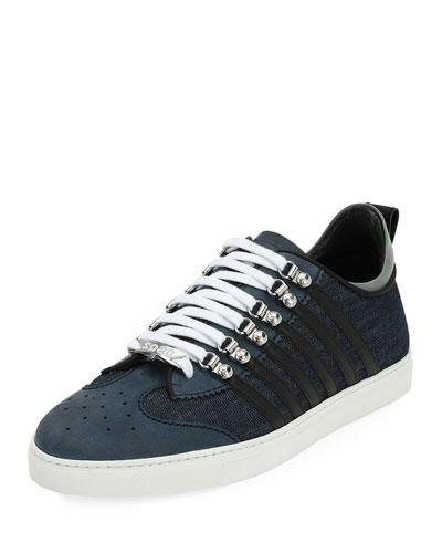 Denim-Panel Low-Top Sneaker