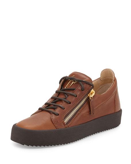 Giuseppe Zanotti Men's Leather Low-Top Sneaker, Light Brown