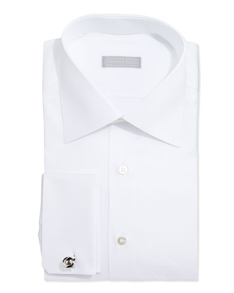 Stefano Ricci Basic French-Cuff Solid Dress Shirt, White