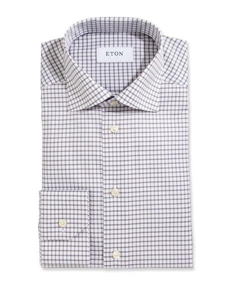 Slim-Fit Box Check Twill Dress Shirt, Gray